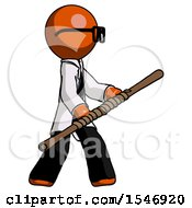 Orange Doctor Scientist Man Holding Bo Staff In Sideways Defense Pose