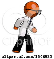 Orange Doctor Scientist Man Suspense Action Pose Facing Right