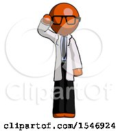 Orange Doctor Scientist Man Soldier Salute Pose