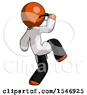Orange Doctor Scientist Man Kick Pose Start