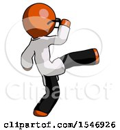 Orange Doctor Scientist Man Kick Pose