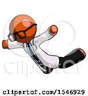 Orange Doctor Scientist Man Skydiving Or Falling To Death