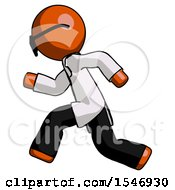 Orange Doctor Scientist Man Running Fast Left