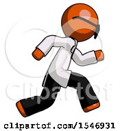 Orange Doctor Scientist Man Running Fast Right