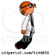 Orange Doctor Scientist Man Floating Through Air Right