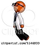Orange Doctor Scientist Man Floating Through Air Left
