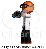 Orange Doctor Scientist Man Holding Binoculars Ready To Look Left