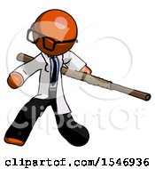 Orange Doctor Scientist Man Bo Staff Action Hero Kung Fu Pose