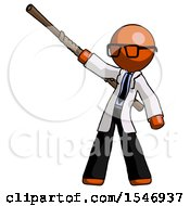 Orange Doctor Scientist Man Bo Staff Pointing Up Pose