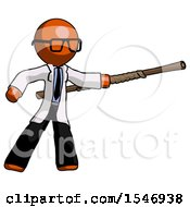 Orange Doctor Scientist Man Bo Staff Pointing Right Kung Fu Pose