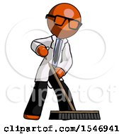 Orange Doctor Scientist Man Cleaning Services Janitor Sweeping Floor With Push Broom