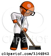 Orange Doctor Scientist Man Cleaning Services Janitor Sweeping Side View