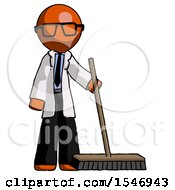 Orange Doctor Scientist Man Standing With Industrial Broom