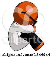 Orange Doctor Scientist Man Sitting With Head Down Facing Sideways Right