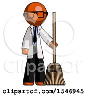 Orange Doctor Scientist Man Standing With Broom Cleaning Services