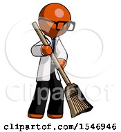 Orange Doctor Scientist Man Sweeping Area With Broom