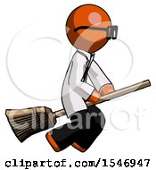 Orange Doctor Scientist Man Flying On Broom