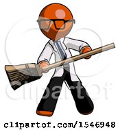 Orange Doctor Scientist Man Broom Fighter Defense Pose