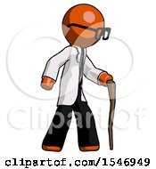 Orange Doctor Scientist Man Walking With Hiking Stick