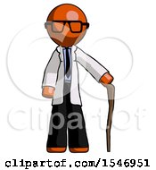 Orange Doctor Scientist Man Standing With Hiking Stick