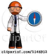 Orange Doctor Scientist Man Holding A Large Compass