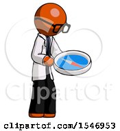Orange Doctor Scientist Man Looking At Large Compass Facing Right