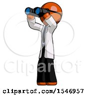 Orange Doctor Scientist Man Looking Through Binoculars To The Left