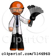 Orange Doctor Scientist Man Holding Feather Duster Facing Forward