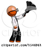 Orange Doctor Scientist Man Dusting With Feather Duster Upwards