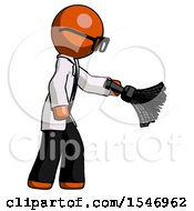 Orange Doctor Scientist Man Dusting With Feather Duster Downwards