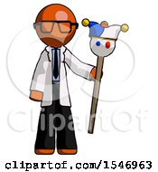 Orange Doctor Scientist Man Holding Jester Staff