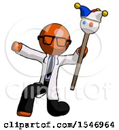 Orange Doctor Scientist Man Holding Jester Staff Posing Charismatically