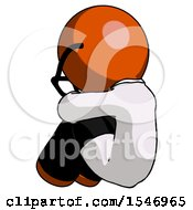 Orange Doctor Scientist Man Sitting With Head Down Back View Facing Left