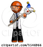Orange Doctor Scientist Man Holding Jester Diagonally