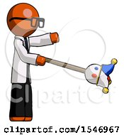 Orange Doctor Scientist Man Holding Jesterstaff I Dub Thee Foolish Concept