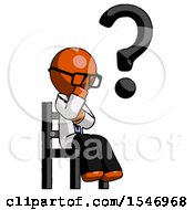 Orange Doctor Scientist Man Question Mark Concept Sitting On Chair Thinking