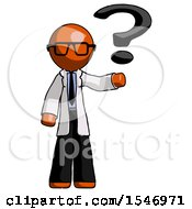 Orange Doctor Scientist Man Holding Question Mark To Right
