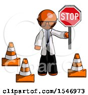 Orange Doctor Scientist Man Holding Stop Sign By Traffic Cones Under Construction Concept
