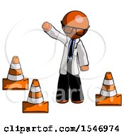 Orange Doctor Scientist Man Standing By Traffic Cones Waving