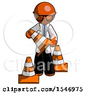 Orange Doctor Scientist Man Holding A Traffic Cone