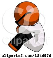 Orange Doctor Scientist Man Sitting With Head Down Facing Sideways Left