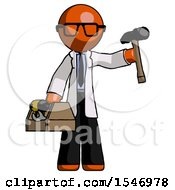 Orange Doctor Scientist Man Holding Tools And Toolchest Ready To Work
