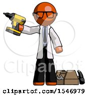 Orange Doctor Scientist Man Holding Drill Ready To Work Toolchest And Tools To Right