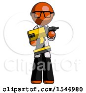 Orange Doctor Scientist Man Holding Large Drill