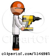 Orange Doctor Scientist Man Using Drill Drilling Something On Right Side