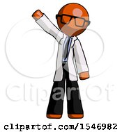 Orange Doctor Scientist Man Waving Emphatically With Right Arm