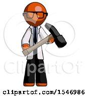 Orange Doctor Scientist Man Holding Hammer Ready To Work