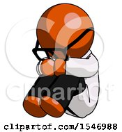 Orange Doctor Scientist Man Sitting With Head Down Facing Angle Left