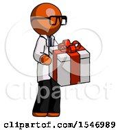 Orange Doctor Scientist Man Giving A Present