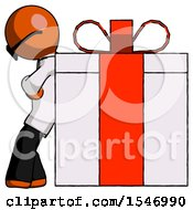 Orange Doctor Scientist Man Gift Concept Leaning Against Large Present